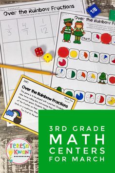 These math centers are perfect for third grade. They focus on fraction skills and measuring skills. Students will love the engaging games and activities during center time. Teachers will love how easy, and quick these centers are to set up! So, if you teach third grade, check these out!