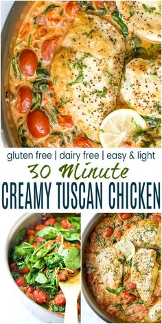 Easy Creamy Tuscan Chicken - pan seared chicken nestled in a creamy garlic white wine sauce with spinach and burst tomatoes. This tuscan chicken recipe is a restaurant quality dinner ready in 30 minutes, it& also gluten free, dairy free and keto! Gluten Free Recipes For Dinner, Paleo Recipes, Cooking Recipes, Dairy Free Dinners, Lactose Free Recipes, Non Dairy Dinner, Gluten And Diary Free Recipes, Gluten Free Lunches, Gluten Dairy Free