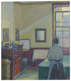 https://flic.kr/p/NKr67m | Harold Gilman - Interior (Mrs Mounter) [1917] | At first glance this jewel of a painting, an essay in stillness and quietude, may not seem a revolutionary work of art. But radical it is, both in its use of colour as the main driver of narrative and through its subject: the drab and the everyday, with a char-lady as sitter. This is a painting for the modern world, made as the old order was being torn apart by the unprecedented horror of the First World War…