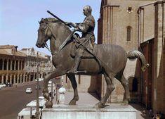 """Donatello, Gattamelata (equestrian statue of Erasmo da Narni), Piazza del Santo, Padua, Italy, ca. 1445-1453. Bronze, 12' 2"""" high."""