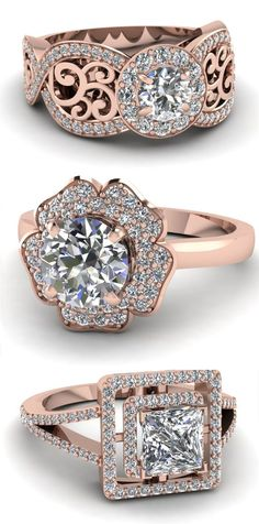 Halo Diamond Engagement Ring ♥ #wedding #love #anniversary