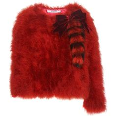 Givenchy Feather and Fur Jacket (77.265 ARS) ❤ liked on Polyvore featuring outerwear, jackets, red, red jacket, red fur jacket, givenchy jacket, feather jacket and givenchy