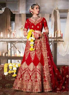 Charming Red Embroidered Velvet Bridal Lehenga choli