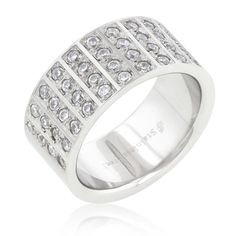 Stainless Steel Men's Pave Contemporary Ring $ 54.00
