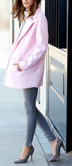 Oversized Pink Coat with Grey Tights Jeans and Classic Louboutin Pumps