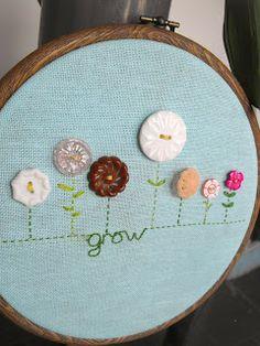 Ruby Murrays Musings: Vintage Button Flower Embroidery Hoop