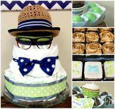 Little Man Diaper Cake for a boy baby shower - love!!