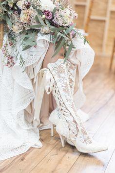 Boho Bridal Boots by House of Elliot - Boho Wedding Inspiration - Boho Bride - Lace Bridal Shoes - Bridal Cowboy Boots Boho Bride, Boho Wedding, Lace Knee High Boots, Wedding Cowboy Boots, Lace Bridal Shoes, Boho Boots, Bridal Looks, Wedding Styles, Boho Chic
