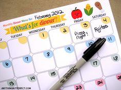 Free Printable Monthly Dinner Menu Planner