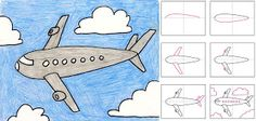 Art Projects for Kids: How to Draw an Airplane. Includes step-by-step diagram.
