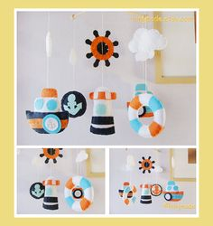 Baby Mobile - Baby Crib Mobile - Nursery Decor - Hanging Nautical Mobile - Mariner Ocean Blue Orange White theme (Custom colors available) on Etsy, 68,75 €