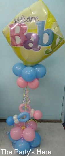 Baby Shower or New Baby Arrangement. Can be used as a table centrepiece, or as a gift for a new baby. We can customise these to any colours. www.thepartyshere.com.au