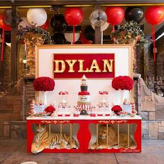Circus Theme Party- Cake, Sweets, lion,  tiger, cage, table,  balloons.