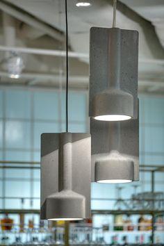 Massive concrete lamps developed by Katerina Sokolova.for Tartufo trattoria (Lviv, Ukraine) Concrete Light, Concrete Table, Concrete Furniture, Concrete Wood, Concrete Design, Plywood Furniture, Beton Design, Luminaire Design, Light Fittings