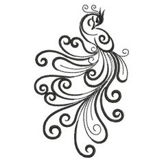 Ace Points Embroidery Design: Abstract Peacock Curls 3.82 inches H x 2.36 inches  embroiderydesigns.com