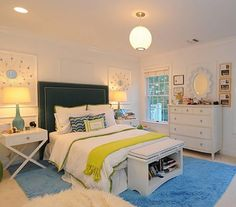 Girls room:  sky blue, white and chartreuse.  So fresh!