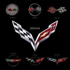 This is a look at all 7 Corvette generation logos which includes the all new C7 Corvette logo which will have its debut on the 2014 C7 Corvette on January 13, 2013.