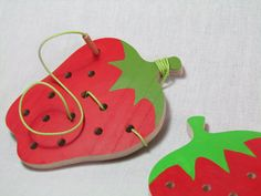 One Lacing Strawberry Wood Toy Threading game by Tinocchio on Etsy, $13.00