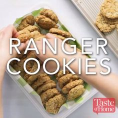 "Ranger Cookies Recipe (I found that there wasn't enough ""dough"" to hold it together. Maybe decrease the amount of oats, coconut, and crispy rice cereal a smidge. Ranger Cookies, Ranger Cookie Recipe, Cereal Recipes, Baking Recipes, Cookie Recipes, Dessert Recipes, Just Desserts, Delicious Desserts, Yummy Food"