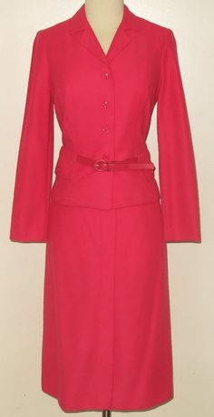 c.1980s LF PETITE by LESLIE FAY Dark Pink or Coral 2pc Skirt Suit - Sz. 8 - CHIC #LFPetiteLeslieFay