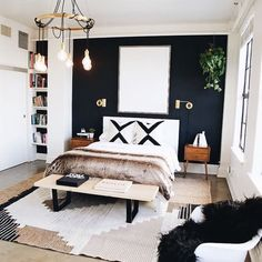 Cool 46 Modern Small Bedroom Design Ideas That Are Look Stylishly Space Saving Stylish Bedroom, My New Room, Home Decor Bedroom, Diy Bedroom, Bedroom Curtains, Bedroom Wallpaper, Bedroom Apartment, Black Bedroom Decor, Garden Bedroom