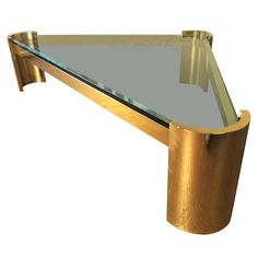 Massive Brass Triangle Coffee Table by Jay Spectre Studio, circa 1980 | From a unique collection of antique and modern coffee and cocktail tables at https://www.1stdibs.com/furniture/tables/coffee-tables-cocktail-tables/