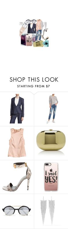 """""""Real Thing"""" by afashionpage on Polyvore featuring Cushnie Et Ochs, Articles of Society, Jeffrey Levinson, CÉLINE, Casetify, Illesteva, Kenneth Jay Lane and L'Oréal Paris"""