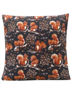 Red Squirrel Design Cushion, cotton canvas made in Britain