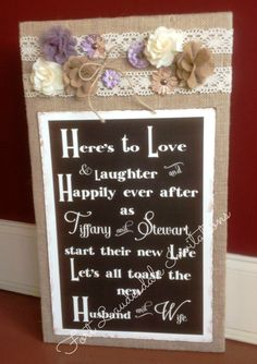 Custom Rustic Wedding Sign with Burlap, Flowers, and Lace by Fort Lauderdale Invitations - Visit our website for ordering information! Fort Lauderdale * Hollywood * Miami * Palm Beaches * We Ship Worldwide