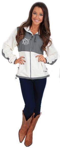 Monogrammed Colorblock Fleece Jacket