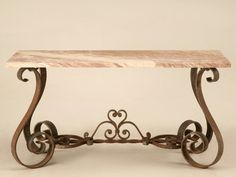Vintage French Forties Iron & Stone Console Table for Sale | Old Plank