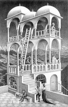 At the MC Escher Art Gallery in San Francico Mc Escher Art, Escher Kunst, Escher Drawings, Escher Paintings, Art Museum, Illusion Kunst, Illusion Art, Op Art, Vanishing Point