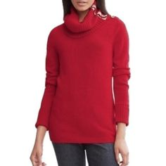 "Banana Republic Sz M Red Gold Button Turtleneck Banana Republic Sz M Red Gold Button  Long Sleeve Thickturtleneck Bust 34-36 Length 32"" New Without tags! Banana Republic Sweaters Cowl & Turtlenecks"