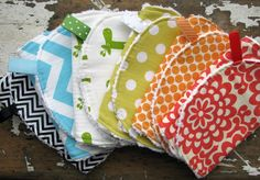 Baby Burp Cloths - Rainbow Set of 6 - Gender Neutral for Baby Girl or Baby Boy