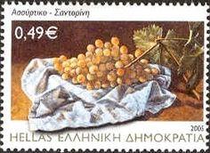 Assyrtiko grapes Santorini Greece, Postage Stamps, Andorra, Wine, Sorting, Greece, Stamps