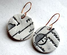 Black and White Ceramic Earrings  Wearable Art by LuckyNola, $30.00