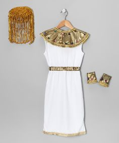 White Cleopatra Dress-Up Outfit - Toddler & Kids  Like this costume. She gets to be pretty and cute, but while representing a strong female character. Not a pink princess!