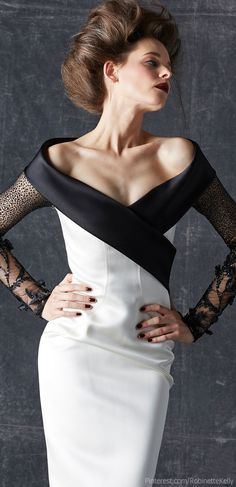 Georges Chakra Couture | Fall 2013: intriguing seams on the bodice and decorations on the sleeves. I hope to see more of this.