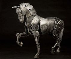 Andrew Chase's Spectacular Steampunk Sculptures Are Crafted from Recycled Metal steampunk sculptures of photographer andrew chase – Inhabitat - Sustainable Design Innovation, Eco Architecture, Green Building Sculpture Metal, Horse Sculpture, Animal Sculptures, Steampunk Kunst, Steampunk Design, Mechanical Horse, Steampunk Animals, Steampunk Robots, Punk Art