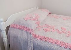 Vintage Chenille Bedspread Full  Pink and Gray  by PerfectPieLady, $145.00