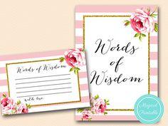 words of wisdom baby shower words of wisdom by MagicalPrintable
