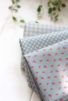 Check, Polka dots, Floral, Vintage Blue Linen Blended set of 3, U1168. $12.90, via Etsy.