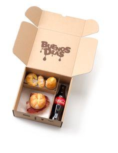 www.matiasbuenosdias.com Desayunos a domicilio. Sandwich Packaging, Food Box Packaging, Dessert Packaging, Craft Packaging, Food Packaging Design, Loco Food, Packing Box Design, Wedding Snacks, Food Branding
