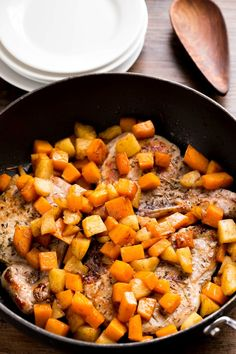 Pork Chops with Cinnamon Apples and Butternut Squash | http://www.ihearteating.com | #30minutemeals #healthy