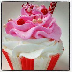 Cherry cola summer limited edition cupcake bath bomb.