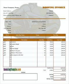 Simple Commercial Invoice Format Templates Free Download - Roofing invoice template free