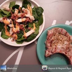 Thank you @ketolisa for sharing fun meal ideas using Sarayo! Great photo: Pork chops and a Sarayo'd Salad. We love our fans  #sarayo #igfood #salad #lchf #yummy #keto #food #healthy #lowcarb #glutenfree #spicy #foodporn #foodstagram #sarayosauce