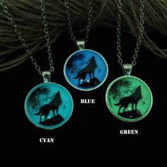 Shop Glow In The Dark Moon Necklace on Wanelo