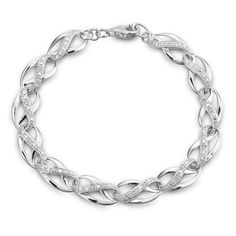 """Diamond Accent Infinity Braid Bracelet in Sterling Silver - 7.25"""""""