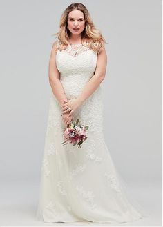 215068ea20 Magbridal Delicate Tulle Scoop Neckline Plus Size Mermaid Wedding Dress  With Lace Appliques